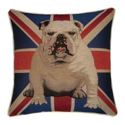 Union Jack British Bulldog Tapestry Cushion by Designer Cushions - Who can resist the loveable face of an English Bulldog? I know I can't. And on this Union Jack pillow, he stately stands guard.
