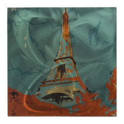 Metal Art Studio - Eiffel Tower Metal Art - Our 'Eiffel Tower' piece takes an abstract twist to the popular landmark in Paris, France. Using a creative process of photo manipulation and color infusion, we came up with a spectacular teal and burnt orange scene of the Eiffel Tower and use an image transfer process to apply the crisp acrylic colors to a sturdy steel panel. The entire piece is encapsulated in a clear coat, making it durable and UV-resistant. The creative color combinations make this the perfect accent to a contemporary or eclectic space, particularly for fans of the European lifestyle and this French tower in particular...