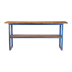 Reclaimed Industrial Tall Work Table - This reclaimed tall factory work table has a one-of-a-kind blue steel base and a newly added top crafted from reclaimed barn wood. Great for use as a desk, gardening table, kitchen island, or in a retail environment.