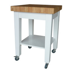 International Concepts - International Concepts Kitchen Island in White/Natural - International Concepts - Kitchen Carts - WC182424