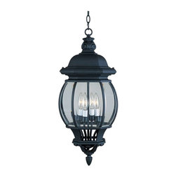 Maxim Lighting - Maxim Crown Hill 4-Light Outdoor Hanging Lantern Black - 1039BK - Crown Hill is a Traditional, early American style collection from Maxim Lighting Interior, available in multiple finishes.