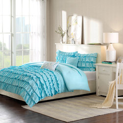 Intelligent Design - Intelligent Design Waterfall Comforter Set - The Waterfall comforter easily adds style and comfort to your bedroom. The beautiful flowing ruffles are a vibrant teal which enhance the charming look of this comforter. A solid teal covers the reverse for a clean look. Made from polyester this comforter is machine washable for easy care. Includes two decorative pillows. Comforter/sham: 100% polyester peach skin printed fabric face; 100% polyester brushed fabric reverse Filling: 200g polyester Pillow: polyester cover and polyester filling