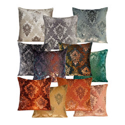 Brocade Velvet Pillow - A stunning baroque patterning dances across the silk and rayon velvet material complimenting the heavenly iridescent hues of Brocade Pillow in such a lovely way that it is hard to keep your eyes off of them. Set a pair at either end of your sofa or in a guest bedroom chair and watch as they become a main focus of your space. Your guests will frequently comment, touch and admire these exquisite pieces of decor with a touch of envy, as they will want them for their own homes.