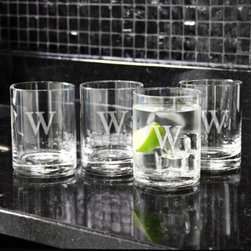 Grandin Road - Set of Four Personalized Etched Drinking Glassess - Classic double old fashioned tumblers, monogrammed to your taste. Crafted from clear, handblown glass. Due to its handmade nature, glass may exhibit small bubbles. Dishwasher safe. Engraving with a single, uppercase block initial or three block initials included; style of engraving as shown. Entertain with sophistication or present a personalized set of Etched Drinking Glasses as a gift. Each classic tumbler is crafted from handblown glass and can be engraved with a single- or three-letter monogram; personalization is included with your order.. . . . . 14 oz. capacity, each. Made in the USA. Personalized items are not returnable.