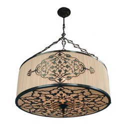 Marco Polo Imports - Saint Germain Chiffon Drum - Majestic cylindrical chiffon ceiling light with an aged brass and black iron frame & elegantly crafted designs. Each light is unique and skillfully created by hand.