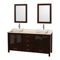 Wyndham Collection - Eco-Friendly Bathroom Vanity with Ivory Marble Top - Includes natural stone counter, backsplash, two countertop vessel sinks and matching mirrors. Faucets not included. Four doors and six drawers. Engineered to prevent warping and last a lifetime. Highly water-resistant low V.O.C. finish. 12-stage wood preparation, sanding, painting and finishing process. Floor standing vanity. Deep doweled drawers. Fully extending side-mount drawer slides. Soft-close doors. Concealed door hinges. Single hole faucet mount. Plenty of storage space. Metal hardware with brushed chrome finish. Carrera marble sinks. Made from zero emissions solid oak hardwood. Espresso finish. Vanity: 72 in. W x 22.75 in. D x 35 in. H. Mirror: 24 in. L x 33 in. H. Handling Instructions. Assembly Instructions - Countertop. Assembly Instructions - Mirror. Assembly Instructions - SinkContemporary but practical design. The modern design puts a visual emphasis on clean lines, luxurious natural marble, abundant storage for two, and is at home in almost every bathroom decor. You'll never hear a door slam shut again!