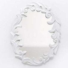 Contemporary Mirrors White Lacquer Rococo Mirror