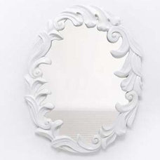 Contemporary Wall Mirrors White Lacquer Rococo Mirror