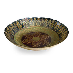 Bursa Glass Bowl - The Bursa glass bowl features reverse painted glass with a traditional gold motif. Food safe.