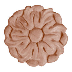 """3247 Wood Applique 1-5/8"""" Diameter - Decorative wood onlays and appliques, are decorative ornaments useful for bringing visual interest to flat areas. Embossed wood onlays and appliques are often used to decorate fireplace mantels, stove or range hoods and cabinetry headers."""