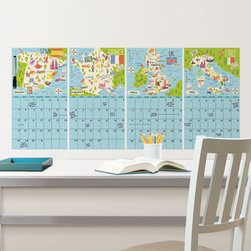 Back to School 2014 - Trendy and chic office decor idea with European travel theme dry-erase calendar set. Would look great in a dorm room or teen decor as well