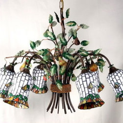 Artistica - Hand Made in Italy - Alba Lamp: Chandelier: W. Iron/Tiffany Glass - Alba Lamp Collection: