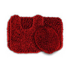 Sands Rug - Quincy Super Shaggy Red Hot Washable Runner Bath Rug (Set of 3) - Jazz up your bathroom, shower room, or spa with a bright note of color while adding comfort you can sink your toes into with the Quincy Super Shaggy bathroom collection. Each piece, whether a bath runner, bath mat or contoured rug, is created from soft, durable, machine-washable nylon. Floor rugs are backed with skid-resistant latex for safety.