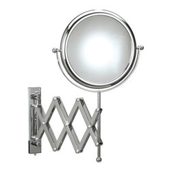 WS Bath Collections - Doppiolo 43-1 Magnifying Mirror 3x - Doppiolo 43-1 x3 by 9.1 Dia. x 17.1 Extension Magnifying Mirror, in Chromed Plated Brass Structure and Frame in Chromed Plated Abs