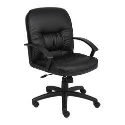 BossChair - Boss Mid Back Leatherplus Chair - Beautifully upholstered in black LeatherPlus. LeatherPlus is leather that is polyurethane infused for added softness and durability. Executive Mid Back styling with extra lumbar support . Extra thick seat and back cushion. Pneumatic gas lift provides instant seat height adjustment. Adjustable tilt tension control. Upright locking control. Durable polypropylene armrests. Large 27 nylon base for greater stability. Hooded double wheel casters. Matching guest chair with cantilever base (B7309). Optional knee-tilt mechanism upgrade available. High back model (B7302) Mid back model (B7307)>
