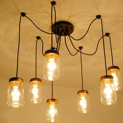 Vintage Mason 7 Jars CEILING LIGHTING