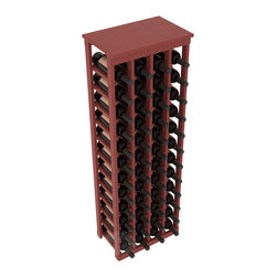"48 Bottle Kitchen Wine Rack in Pine with Cherry Stain + Satin Finish - Store 4 complete cases of wine in less than 20"" of wall space. Just over 4 feet tall, this narrow wine rack fits perfectly in hallways, closets and other ""catch-all"" spaces in your home or den. The solid wood top serves as a shelf or table top for added convenience and storage of nick-nacks."
