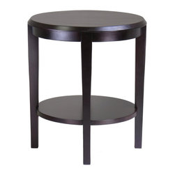 Winsome Trading, INC. - Winsome Wood 92617 Nadia End Table, Dark Espresso - Modern and sleek design in Nadia Collection makes this a match for any decor. Round End Table, Oval Coffee Table and Half Moon Console/Entry Table. This collection has all the favors. Bottom shelf for storage. Profile table top has a little attitude.