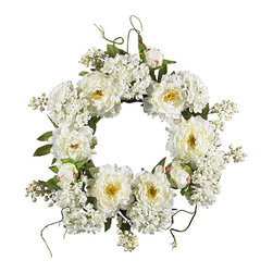 Nearly Natural - 20-inch Peony Hydrangea Wreath - Surprise that special someone with this sunny wreath of springtime beauty Silk flower wreath is a full 20 inches in diameter Gorgeous wreath is a delicate mix of soft blooms both large and small