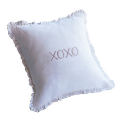Taylor Linens - XOXO Natural Toss Pillow - Get your hugs and kisses every morning and night with this 10-inch square accent pillow. X's and O's are embroidered in the center of 100 percent linen bordered by dainty ruffles. Sweet dreams, indeed.