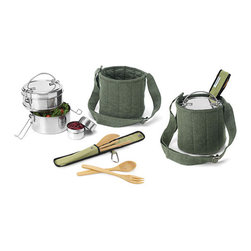 Tiffin Food-Carrier Set - Love the environment? Make your green beliefs widely known with this classic two-tier tiffin set, cleverly stored in a carrying bag made of recycled cotton. Bamboo utensils and a smaller dressing or spice container are also included.