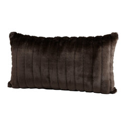 Cyan Design - Cyan Design Faux Beaver Pillow X-83560 - This Cyan Design faux beaver pillow starts with a simple, elongated lumbar shape. The facade is covered with a soft faux beaver-inspired fur, complete with warm, chocolatey shades of brown. A matching brown velvet-style fabric on the back pulls the look together.