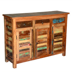"""Sierra Living Concepts - Appalachian Reclaimed Wood 3 Shutter Doors 3 Drawer Buffet Storage Cabinet - Reclaimed wood provides an authentic aged quality in our Appalachian Reclaimed Wood 3 Shutter Doors 3 Drawer Buffet Storage Cabinet. This 48"""" long sideboard is part of our Appalachian Rustic collection of handmade solid hardwood furniture built with a relaxed and weathered exterior. The cabinet is built with reclaimed wood from Gujarat."""