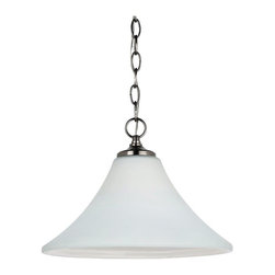 Sea Gull Lighting - Sea Gull Lighting 65180-965 One Light Downlight Pendant In Antique Brushed Nicke - Sea Gull Lighting 65180-965 One Light Downlight Pendant In Antique Brushed Nickel Finish With Satin Etched Glass Painted White InsideMontreal Collection