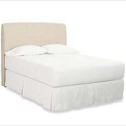"Lewis Headboard Slipcover, Full, Organic Cotton Basketweave Natural - Our upholstered headboard lets you be the designer. Create the perfect backdrop for patterned or solid bedding with slipcovers that remove easily for cleaning. Frame is crafted of plywood. Legs are hand finished in mahogany stain. The headboard is guaranteed to fit with our PB metal bedframe using the headboard hardware. Slipcovers are sold separately. Monogramming is available at an additional charge. Monogram will be centered on the headboard. View and compare with other collections at {{link path='pages/popups/bedroom_DOC.html' class='popup' width='720' height='800'}}Bedroom Furniture Facts{{/link}}. Twin Headboard: 39"" wide x 5"" deep x 54"" high Full Headboard: 55.5"" wide x 5"" deep x 54"" high Queen Headboard: 61.5"" wide x 5"" deep x 54"" high King Headboard: 77.5"" wide x 5"" deep x 54"" high View our {{link path='pages/popups/fb-bedroom.html' class='popup' width='480' height='300'}}Furniture Brochure{{/link}}. Catalog / Internet Only."