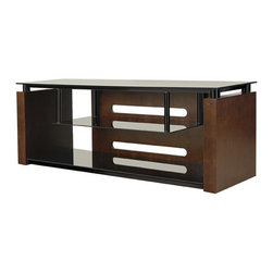 """Bell'o - Bello AV System Holds Up To 65"""" TV - Attractive and sturdy, this contemporary design with a hanging shelf is constructed of scratch resistant, High Gloss Black powder-coated metal and Black tempered safety glass accented with beautiful Espresso finished sides and back. It will accommodate mos. Holds up to 65"""" TVs or 125 lbs."""