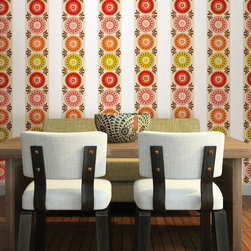 """Carnivale Stripes Set of Wall Decals - Carnivale is a modern floral WallPops design, in a retro color scheme. These wall decals give you a warm feeling with a fun and chic look. WallPops are always repositionable and removable. This pack comes with four 6.5"""" x 16' long stripes."""