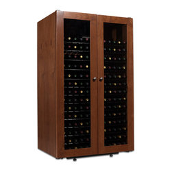 330 Bottle Venetian Wine Cabinet - Why pay more for this kind of quality? With high end features and a hand finished cabinet, elegance and affordability have combined to create this unique full-length glass door style.