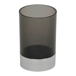 Tumbler Acrylic with Chrome Part Grey - This tumbler for bathrooms is in grey acrylic with a chrome part and will add a modern look and feel to your decor. This circular shaped tumbler will be a treasured addition to any bathroom. Diameter of 2.76-Inch and a height of 4.13-Inch. Wipe clean with soapy water. Color grey. Accessorize your bathroom countertop in a trendy style with this charming tumbler! Complete your decoration with other products of the same collection. Imported.