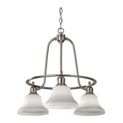 Murray Feiss - Brushed Steel Cumberland 3 Light 1 Tier Chandelier with 36 Chain - Lamping Technologies: