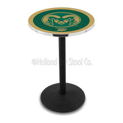 Holland Bar Stool - Holland Bar Stool L214 - Black Wrinkle Colorado State Pub Table - L214 - Black Wrinkle Colorado State Pub Table belongs to College Collection by Holland Bar Stool Made for the ultimate sports fan, impress your buddies with this knockout from Holland Bar Stool. This L214 Colorado State table with round base provides a commercial quality piece to for your Man Cave. You can't find a higher quality logo table on the market. The plating grade steel used to build the frame ensures it will withstand the abuse of the rowdiest of friends for years to come. The structure is powder-coated black wrinkle to ensure a rich, sleek, long lasting finish. If you're finishing your bar or game room, do it right with a table from Holland Bar Stool. Pub Table (1)