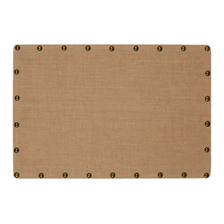 "Linon Home Decor - Linon Home Decor Burlap Nailhead Corkboard, Medium - Ideal for placing in an office, kitchen or entry, the Burlap Corkboard is perfect for creating a note and message taking space in your home. The burlap covered cork and mdf is accented with oversized antique bronze nailheads. Easily hands vertically or horizontally. Measures 24""x36"""
