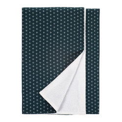 Nine Space - Anchor Beach Towel, Navy - This 100 percent Turkish cotton towel will have you looking shipshape. It features an allover anchor print that helps to repel sand, while the reverse side's soft, cotton-terry loops wick away moisture. It's the perfect companion at the beach, poolside or even at a picnic.