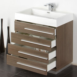 """Fresca - Fresca Livello 30"""" Modern Single Sink Vanity Set w/ Medicine Cabinet - The Livello 30"""" vanity features four pull out drawers that come equipped with slow closing hinges. Its sink is made with a durable acrylic material that is less likely to break then tradition ceramic, it also cleans better. This vanity's minimal design will make your bathroom feel like a modern oasis. Many faucet styles to choose from. Optional side cabinets are available."""