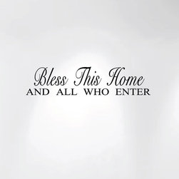 Innovative Stencils - Bless This Home and All Who Enter Wall Decal Sticker Quote #1240, Matte Black - MADE IN THE USA WITH 100% USA MATERIALS