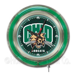 Holland Bar Stool - Holland Bar Stool Clk15UnivOH Ohio University Neon Clock - Clk15UnivOH Ohio University Neon Clock belongs to College Collection by Holland Bar Stool Our neon-accented Logo Clocks are the perfect way to show your school pride. Chrome casing and a team specific neon ring accent a custom printed clock face, lit up by an brilliant white, inner neon ring. Neon ring is easily turned on and off with a pull chain on the bottom of the clock, saving you the hassle of plugging it in and unplugging it. Accurate quartz movement is powered by a single, AA battery (not included). Whether purchasing as a gift for a recent grad, sports superfan, or for yourself, you can take satisfaction knowing you're buying a clock that is proudly made by the Holland Bar Stool Company, Holland, MI. Clock (1)