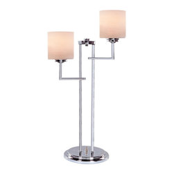 Lite Source - 2-Lite Table Lamp - Chrome/Frost Glass Shade - 2-Lite Table Lamp - Chrome/Frost Glass Shade