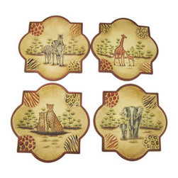 Set of 4 Decorative Safari Themed Ceramic Plates - This gorgeous set of decorative ceramic plates is the perfect accent to safari themed home decor! The plates depict a mother and baby animal on a tundra, the animals included are zebras, giraffes, elephants, and cheetahs. Each plate measures 10 1/4 inches by 10 1/4 inches and is hand painted in beautiful, natural colors. Display them as a wall hanging on a decorative plate rack, or on a shelf, they are sure to be admired by all who view them. NOTE: These plates are for decorative purposes only, they are not intended for use with food.