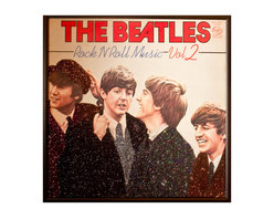 """Glittered Beatles Rock and Roll Music 2 Album - Glittered record album. Album is framed in a black 12x12"""" square frame with front and back cover and clips holding the record in place on the back. Album covers are original vintage covers."""