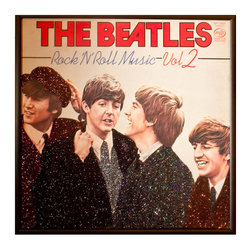 "Glittered Beatles Rock and Roll Music 2 Album - Glittered record album. Album is framed in a black 12x12"" square frame with front and back cover and clips holding the record in place on the back. Album covers are original vintage covers."
