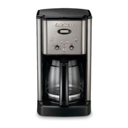 Cuisinart - Brew Central 12 Cup Programmable Coffee Maker - Introducing an evolutionary new look in Coffee Makers. The Brew Central Coffee Maker makes a bold statement with an elegant tech-industrial design. Programmable from start to finish, with a variable heater plate for temperature control, it's the ideal Coffee Maker for today's demanding consumer. It even tells you when it's time to decalcify. Features: -Classic design.-12-cup glass carafe with ergonomic handle, dripless spout and knuckle guard.-Adjustable keep-warm temperature control.-24-hour brew programming.-Time-to-clean monitor with indicator light.-Programmable automatic shutoff 0-4 hours.-1 to 4-cup feature.-Cord storage.-Charcoal water filter (removes impurities).-Gold tone filter and measuring scoop.-#4 paper coffee starter kit.-Made of plastic.-Instruction book.-Brew Pause feature lets you enjoy a cup of coffee before brewing has finished.-Distressed: No.Dimensions: -14.'' H x 8'' W x 10'' D, 9 lbs.-Overall Product Weight: 9 lbs.Warranty: -Limited 3-year warranty.