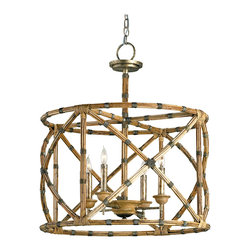 Kathy Kuo Home - Palm Beach Bamboo Washed Wood 4 Light Lantern Pendant Lamp - Appealing in its simplicity and form, the Palm Beach lantern showcases a great combination of bamboo and wrought iron with its graceful curves and detailing. The hand finishing process used on this chandelier lends an air of depth and richness not achieved by less time-consuming methods.
