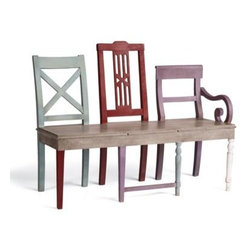 Artisan Bench - This one looks like chairs, but it's actually one bench with mix-and-match legs and backs. It's for the artist in you.