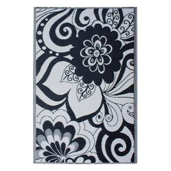Indoor/Outdoor Maui Rug, Black & Cream, 6x9