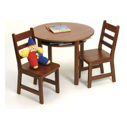 Lipper - Child's Round Table w Shelf & 2 Chairs-Cherry - Color: Cherry. Material: Wood/MDF. Table Measures: 29 in. W x 23.5 in. H. Chairs Measure: 13.75 in. W x 14.5 in. D x 25.5 in. H (seat height: 13 in.)