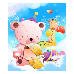 Custom Photo Factory - Child Sleeping on Teddy Bear Canvas Wall Art - Child Sleeping on Teddy Bear  Size: 20 Inches x 30 Inches . Ready to Hang on 1.5 Inch Thick Wooden Frame. 30 Day Money Back Guarantee. Made in America-Los Angeles, CA. High Quality, Archival Museum Grade Canvas. Will last 150 Plus Years Without Fading. High quality canvas art print using archival inks and museum grade canvas. Archival quality canvas print will last over 150 years without fading. Canvas reproduction comes in different sizes. Gallery-wrapped style: the entire print is wrapped around 1.5 inch thick wooden frame. We use the highest quality pine wood available. By purchasing this canvas art photo, you agree it's for personal use only and it's not for republication, re-transmission, reproduction or other use.